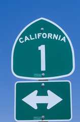Wall Mural - A sign for route 1 in California