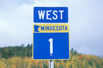 Wall Mural - A sign for 1 west in Minnesota