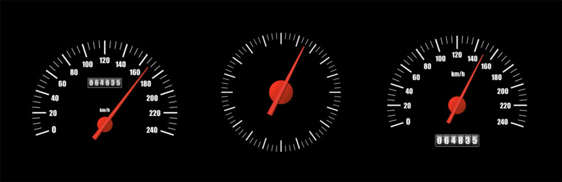 Realistic speedometer pack isolated on black background. Sport car odometer with motor miles measuring scale. Racing speed counter. Engine power concept template. Vector illustration