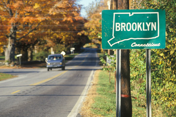Wall Mural - A sign for Brooklyn, Connecticut