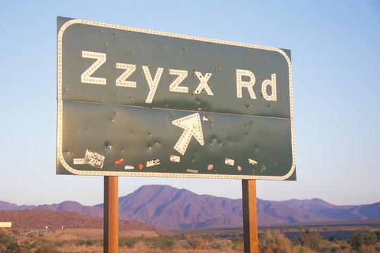 A sign that reads ÒZzyzx RdÓ