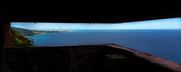 Scenic views of seascapes and mountains of West Oahu from inside WW2 Pillbox atop of the Waianae...