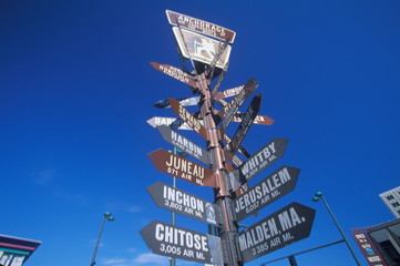Fototapete - Miscellaneous distance signs in Anchorage, Alaska