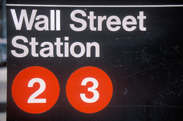 Wall Mural - A sign that reads ÒWall Street StationÓ