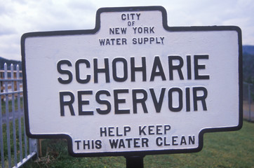 Wall Mural - A sign that reads ÒSchoharie ReservoirÓ