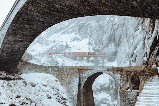 Red Train Tunnel Switzerland