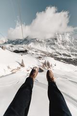 Zipline Over Snowy Mountain