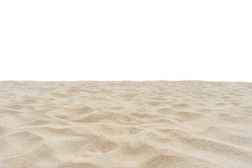 Wall Mural - Beach sand texture in summer sun Di cut isolated on white background.