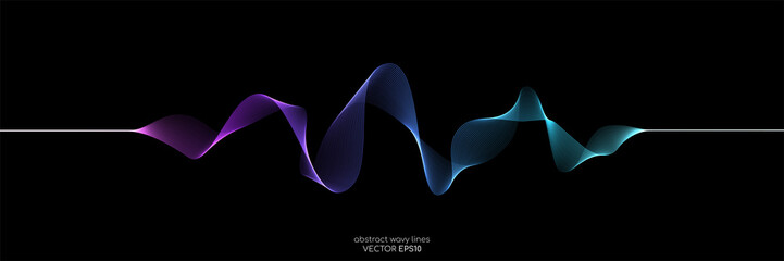 Foto auf Gartenposter Abstrakte Welle Abstract wave lines dynamic flowing colorful light isolated on black background. Vector illustration design element in concept of music, party, technology, modern.