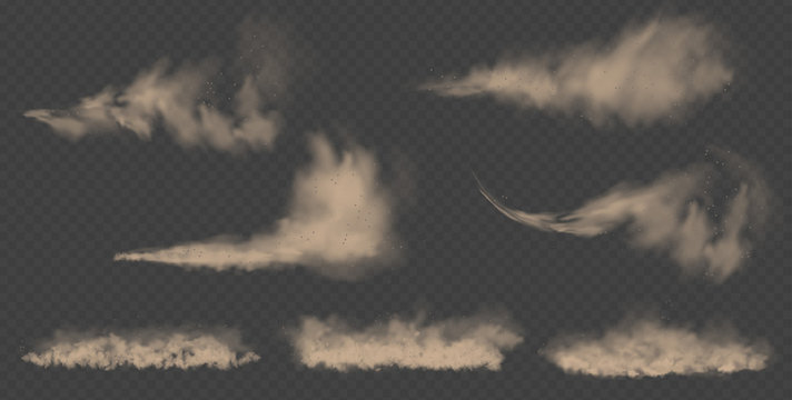Dust cloud, sand storm, powder spray on transparent background. Desert wind with cloud of dust and sand. Realistic vector illustration.