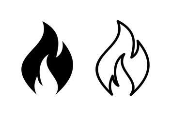 Fire icons set on white background . Fire flame icon template.