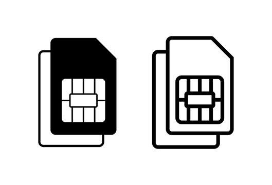 Dual Sim card icons set vector. Mobile slot icon. Mobile cellular phone sim card chip.