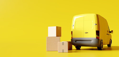Delivery vans with paper boxes on yellow background. 3d rendering