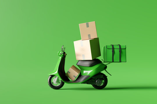 Delivery scooter with green food box and paper boxes on green background. Delivery service concept. 3d rendering