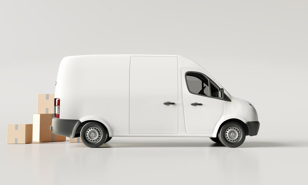 Delivery vans with paper boxes on bright white background. 3d rendering