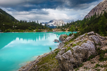 Wall Mural - Summer alpine landscape with turquoise glacier lake, Sorapis, Dolomites, Italy