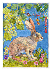 Watercolor drawing rabbit on background of flowers