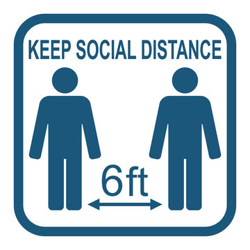 Social distancing, infographic elements. Keep distance 6 ft. Vector illustration.