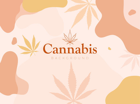 Pattern with trendy pastel colored liquid vector shapes and leaves of Cannabis. Marijuana background for packing design or social media post or banner design. Vector illustration.
