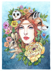 Drawing forest fairy with hare, fox, eagle owl