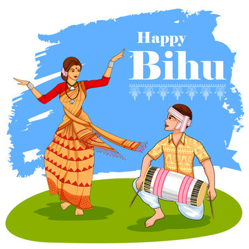 illustration of traditional background for religious holiday festival of Assamese New Year Bihu of Assam India