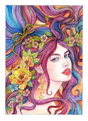 Drawing beautiful young woman with flying hair and flowers