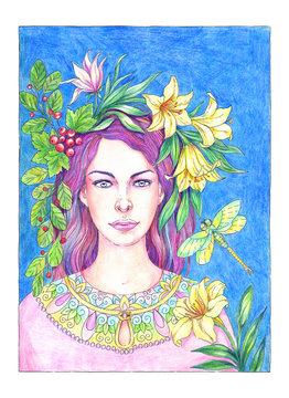 Drawing beautiful young woman with lilies, berries and dragonfly