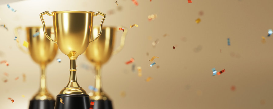 golden trophy award with falling confetti on gold background. copy space for text. 3d rendering.