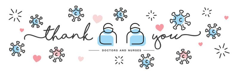 Thank you doctors and nurses working in the hospitals fighting the coronavirus handwritten line design