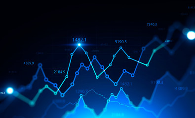 Glowing digital financial graph background