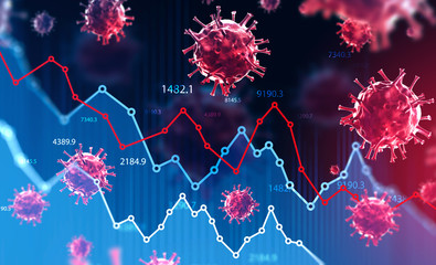 Wall Murals London Coronavirus and financial stock market crisis