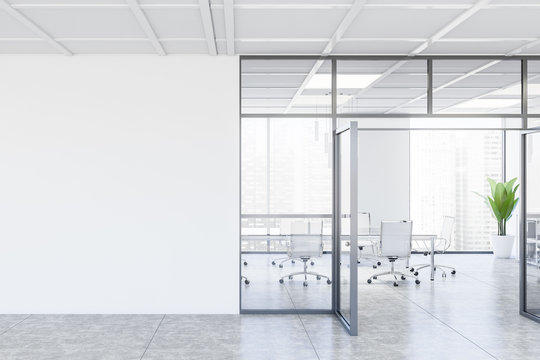 White conference room interior with mock up wall