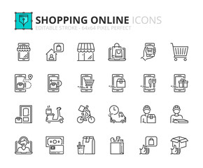 Simple set of outline icons about shopping online and delivery.