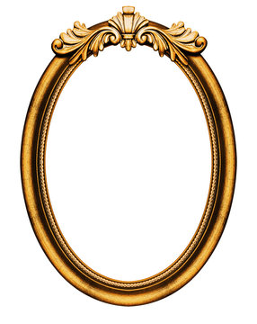 Wooden oval frame isolated on white background, including clipping path