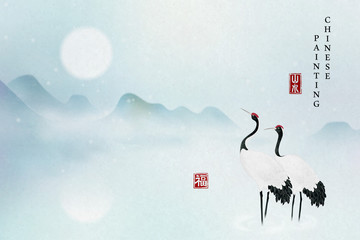 Papiers peints Blanc Chinese ink painting art background elegant tranquil landscape view of mountain full moon and Chinese crane bird standing on the lake. Chinese translation : Nature landscape and Blessing.