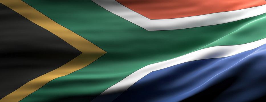 San South Africa national flag waving texture background. 3d illustration