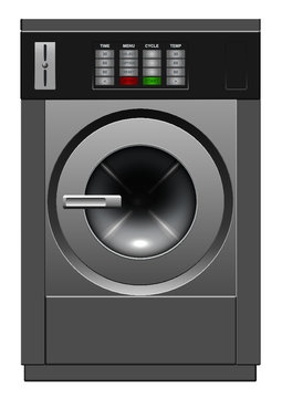 A vector illustration of a brushed metal industrial washing machine on an isolated white studio background