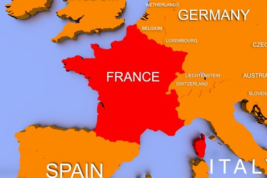 Three dimensional rendered map of COVID-19 virus pandemic in France, Europe