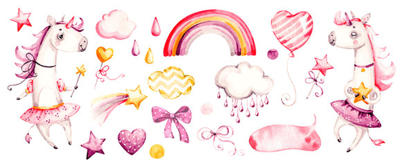 Cute unicorn baby girl. Watercolor vector nursery cartoon magic animals, pink clouds, rainbow. Adorable Nurseries princess set isolated on white background. Handpainted watercolour baby animal clipart