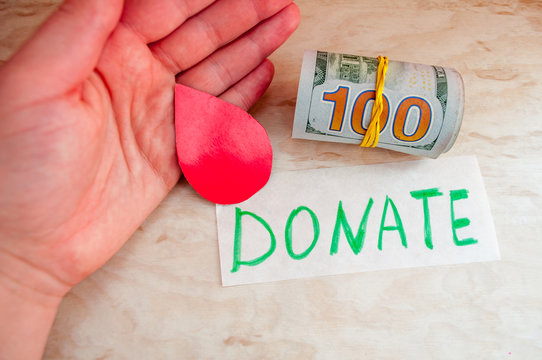 International Day of Charity. Red heart and money, donation charity concept, gratitude, kind, grateful, hope concept, Blood donors