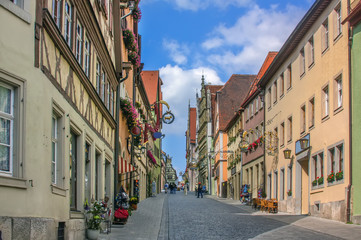Fototapete - Street in Rothenburg ob der Tauber, Bavaria, Germany