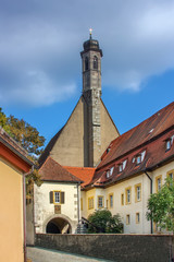 Fototapete - Church of St. Johannis, Rothenburg ob der Tauber, Bavaria, Germany