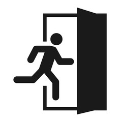 Running man and exit door sign. Vector icon, safety symbol. Escape help evacuation