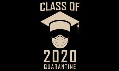 Class of 2020 Graduation Funny Artwork Graphic Print Graduation Hat and Surgical Mask Quarantine Fototapete