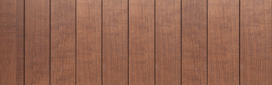 Panorama of Brown natural wood texture and seamless background.