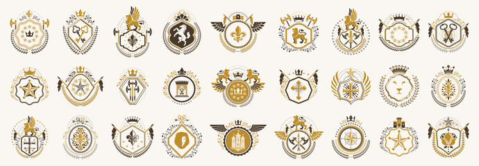 Classic style emblems big set, ancient heraldic symbols awards and labels collection, classical heraldry design elements, family or business emblems. Wall mural