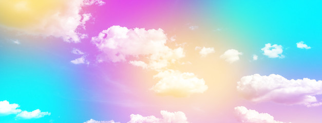 Wall Mural - Cloud and sky with a pastel colored background, abstract sky background in sweet color, panoramic image