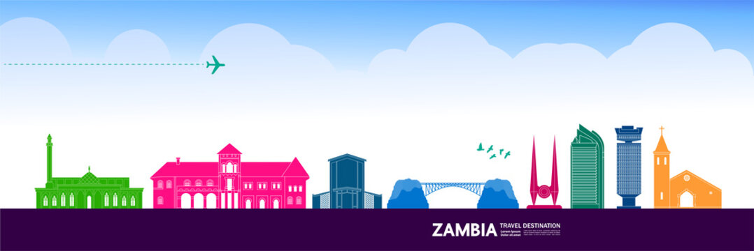Zambia travel destination grand vector illustration.