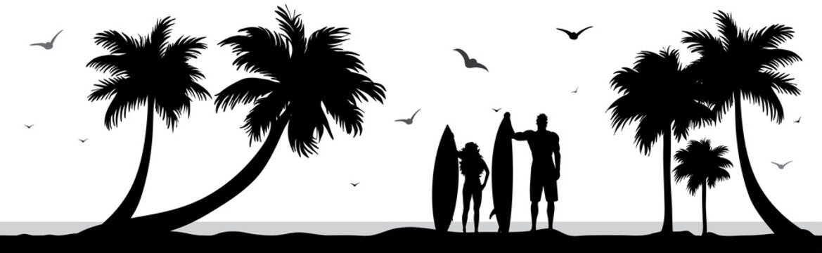 Vector silhouette of surfers on palm beach on white background. Symbol of nature and sport.