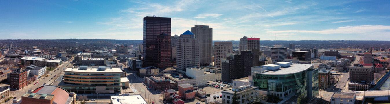 Panoramic photo of Dayton Ohio taken from drone. Drone photography of city. Panoramic photo.